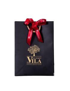 Black Paper Bag with Gold Logo Red Bow | Gourmet Da Vila