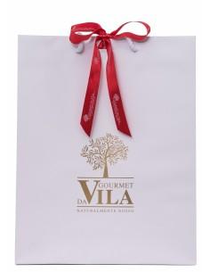 Saco de Papel Branco com logo Dourado e Laço Vermelho 170g | Gourmet Da Vila