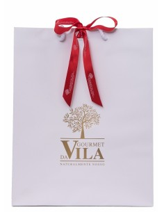White Paper Bag with Golden Logo and Red Bow 170g | Gourmet Da Vila