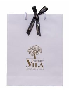 White Paper Bag with Golden Logo and Black Bow | Gourmet Da Vila
