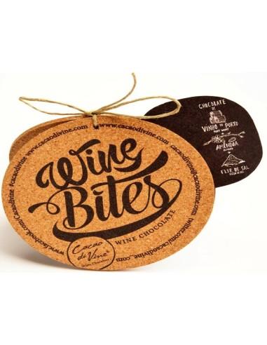 Wine Bites - Saco com cortiça com 16 chocolates Port Ruby com Amêndoa e Flor de Sal Cacau Di Vine