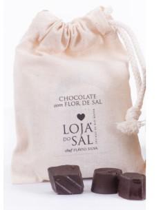 Chocolate com flor de sal (saco de pano) Loja do Sal 4 unid.