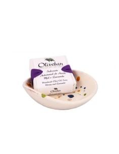 Saboneteira de Cerâmica com Sabonete - Mel e Lavanda Oliveban 105g