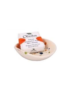 Saboneteira de Cerâmica com Sabonete - Mel e Laranja Oliveban 105g