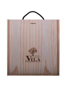 Caixa de Madeira 3 Garrafas Pega em Cordão Preto (Personalizável) | Gourmet Da Vila